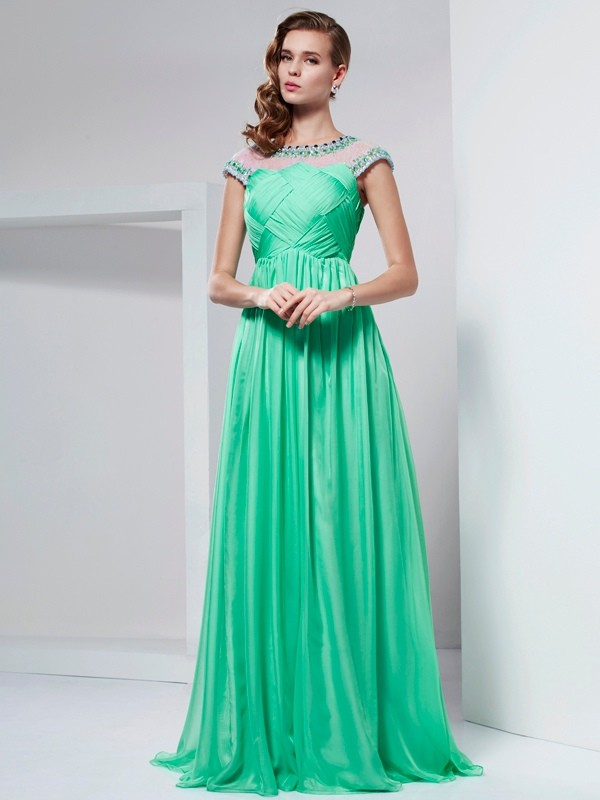 A-Line High Neck Short Sleeves Ruffles Long Chiffon Dresses