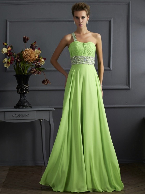 A-Line Sleeveless Beading One-Shoulder Chiffon Long Dresses