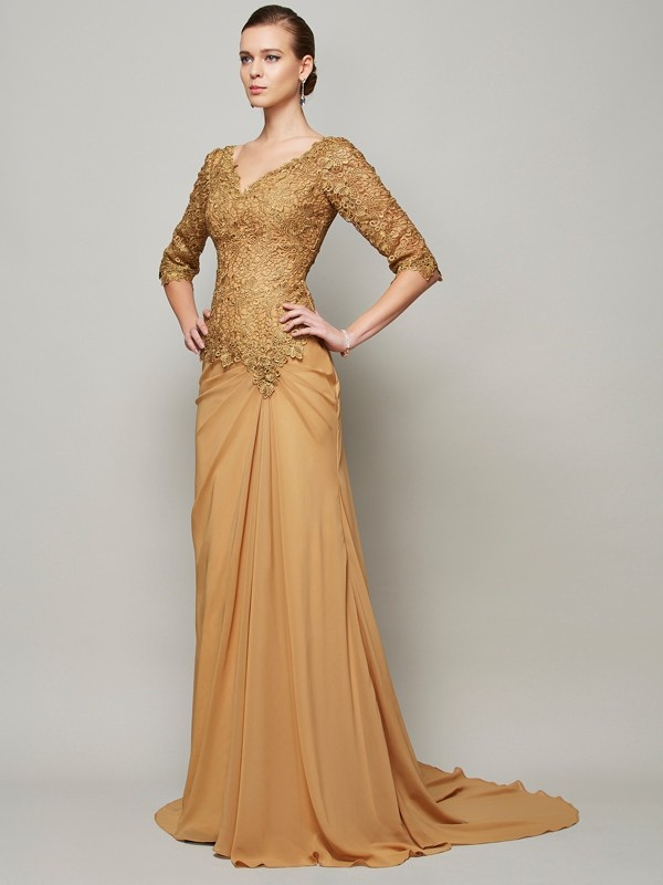Perfect Sheath V-neck 1/2 Sleeves Floor-Length Lace Chiffon Dresses