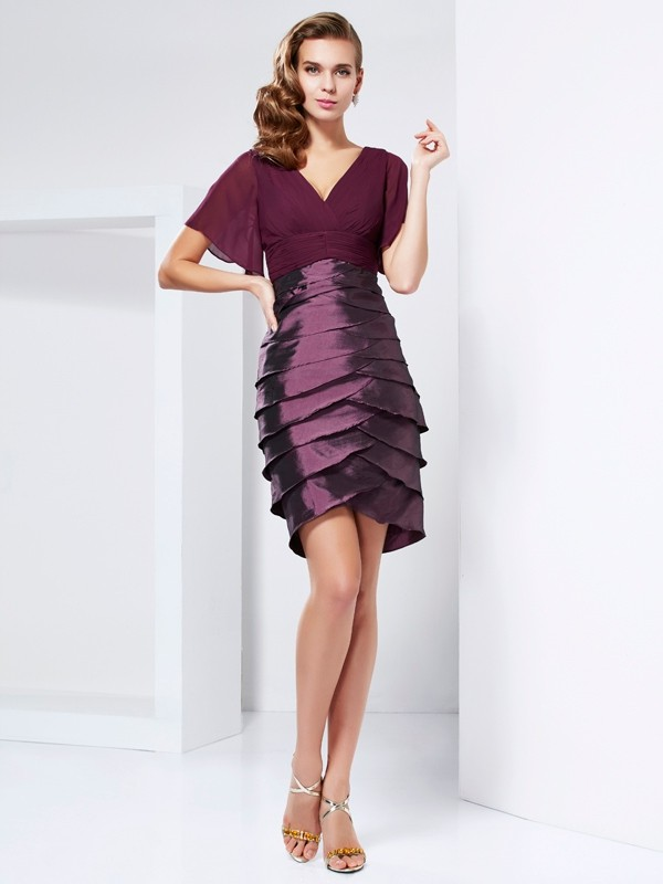 A-Line V-neck Short Sleeves Ruffles Short Taffeta Dresses