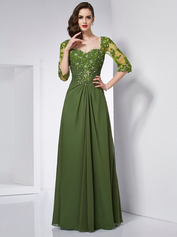 A-Line Sweetheart 3/4 Sleeves Beading Long Chiffon Dresses