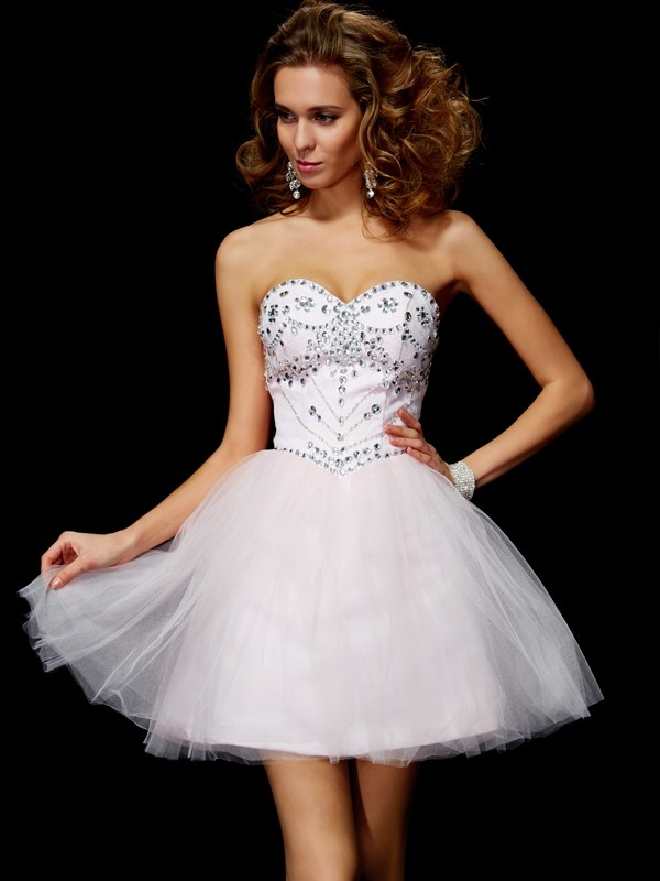 A-Line Sweetheart Sleeveless Beading Short Organza Debs Dress