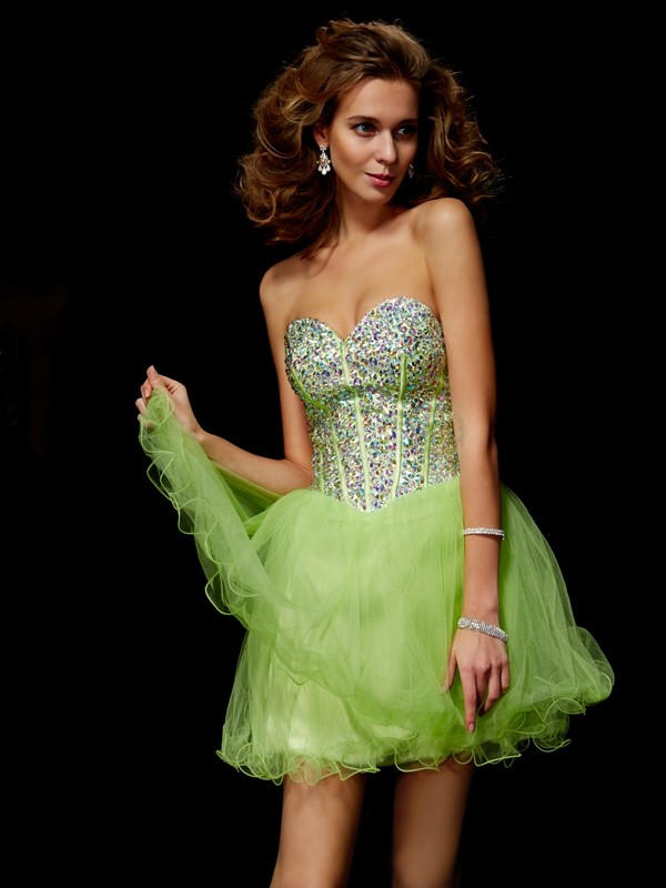 A-Line Sweetheart Sleeveless Sequin Beading Short Elastic Woven Satin Debs Dress