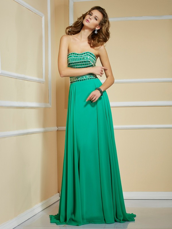 A-Line Strapless Sleeveless Rhinestone Long Chiffon Dresses