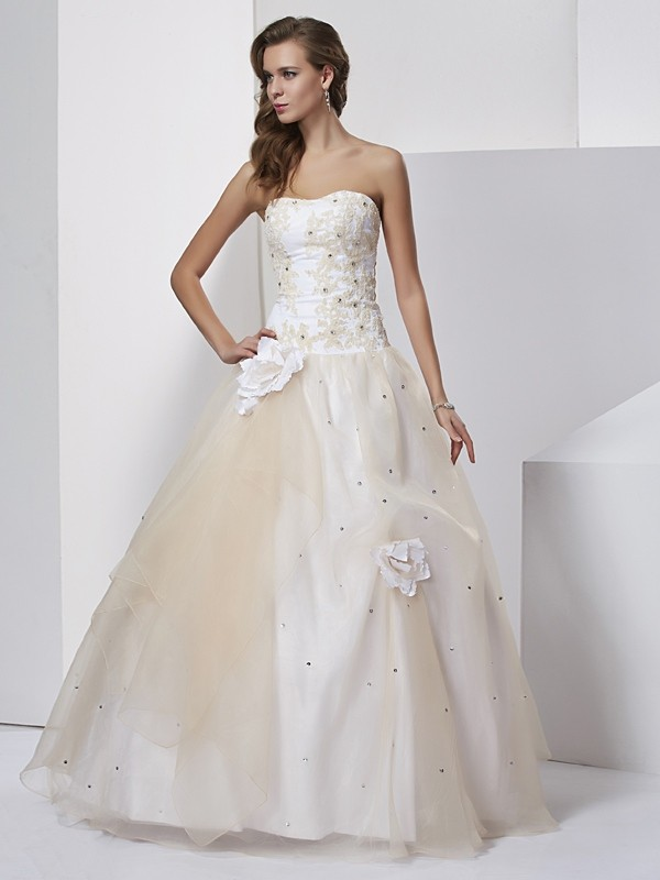 Ball Gown Sweetheart Sleeveless Hand-Made Flower Long Tulle Debs Dress