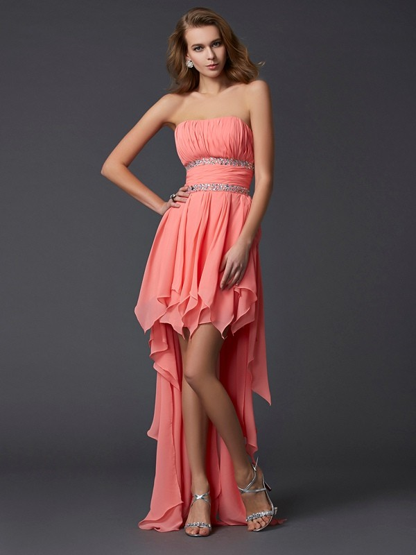 Empire Strapless Sleeveless Ruffles High Low Chiffon Debs Dress