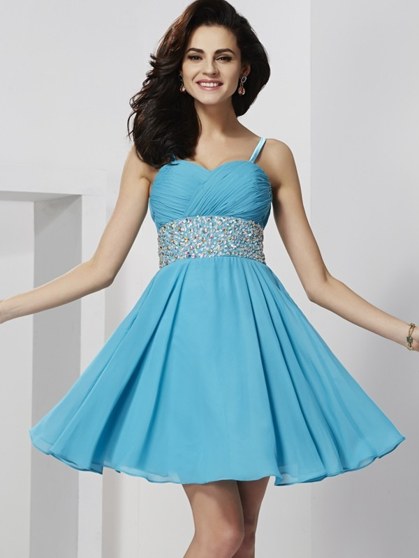 A-Line Spaghetti Straps Sleeveless Rhinestone Short Chiffon Debs Dress