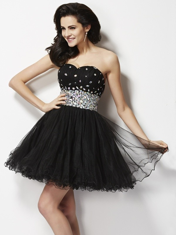 A-Line Sweetheart Sleeveless Beading Sequin Short Elastic Woven Satin Debs Dress