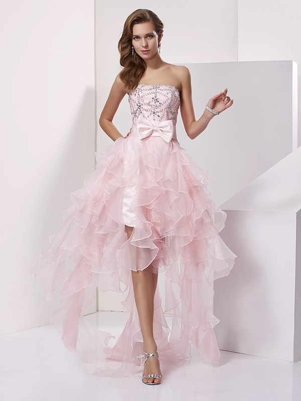 A-Line Strapless Sleeveless Beading High Low Organza Debs Dress