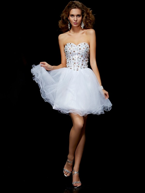 Sheath Sweetheart Sleeveless Crystal Short Elastic Woven Satin Debs Dress
