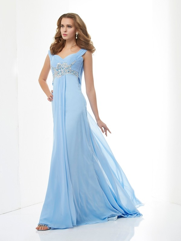 A-Line Sleeveless Beading Sweetheart Long Chiffon Dresses