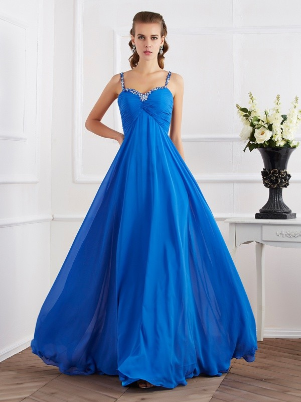A-Line Spaghetti Straps Sleeveless Beading Applique Long Chiffon Dresses