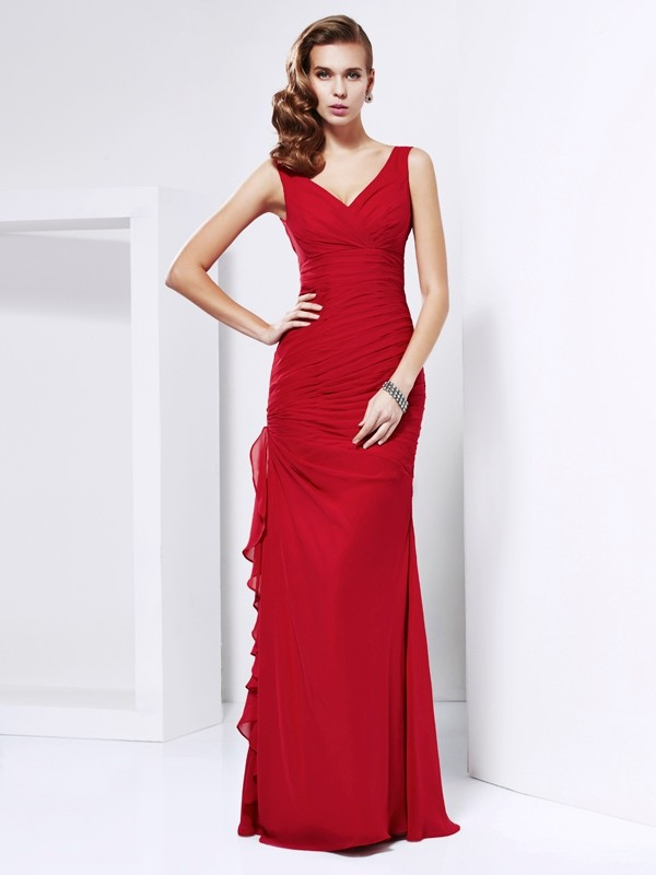 Sheath V-neck Sleeveless Ruched Long Chiffon Dresses