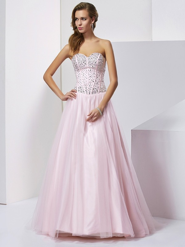 Ball Gown Sweetheart Sleeveless Beading Long Satin Debs Dress