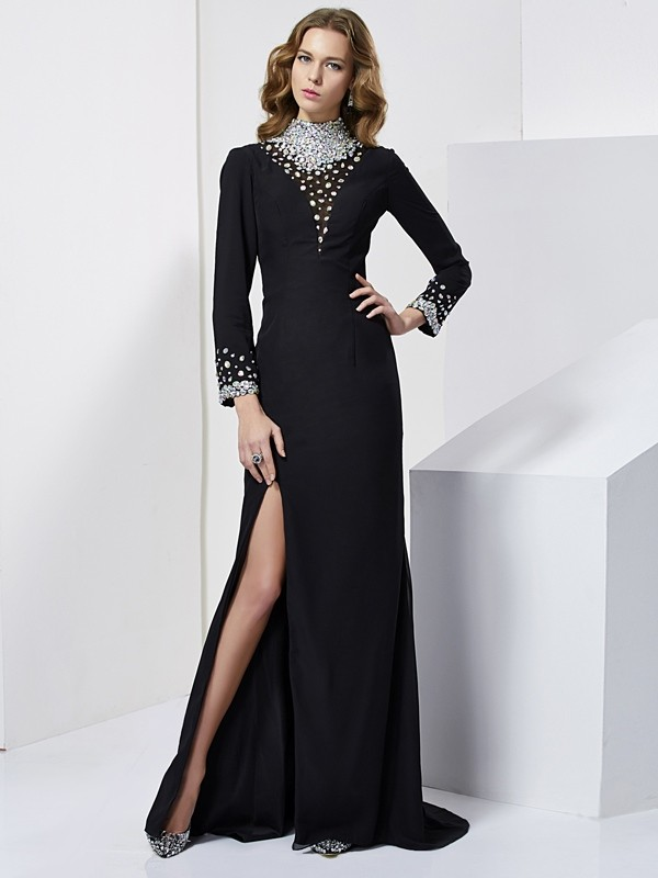 Sheath High Neck Long Sleeves Rhinestone Long Chiffon Dresses