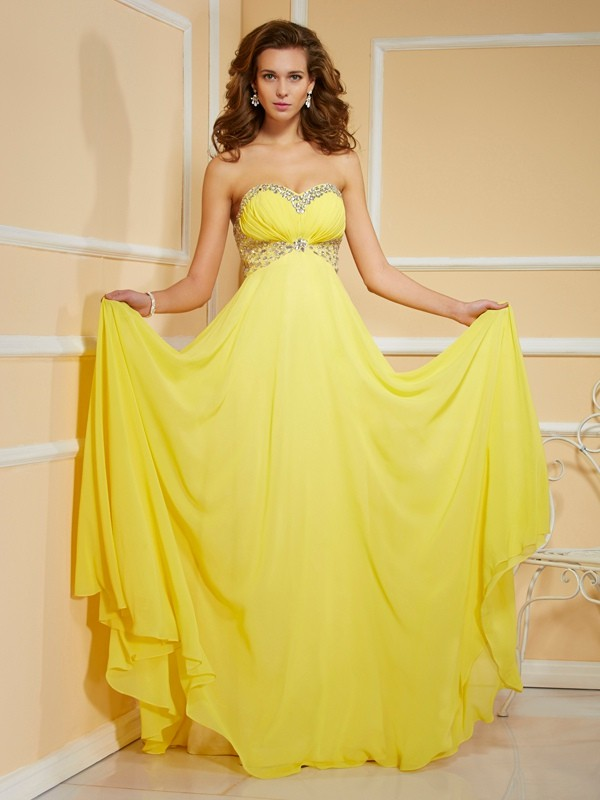 Sheath Sweetheart Sleeveless Ruffles Ruched Long Chiffon Dresses