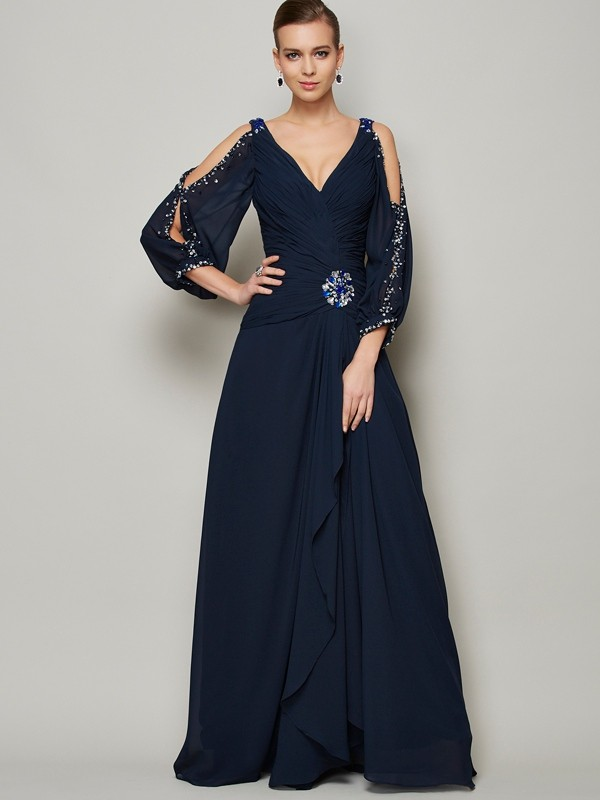 Floor-Length A-Line V-neck Long Sleeves Beading Chiffon Dresses