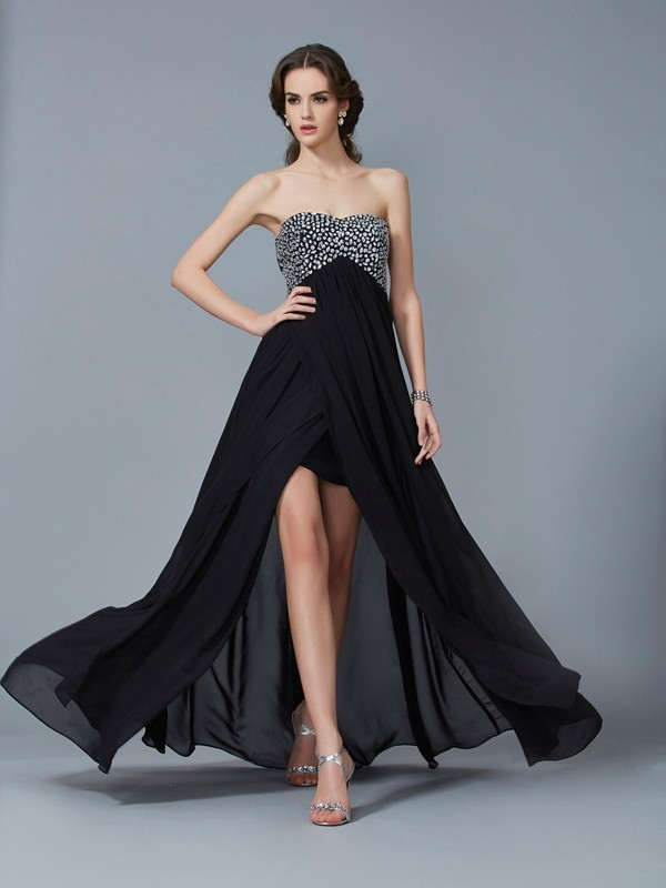 A-Line Sweetheart Sleeveless Chiffon Beading Long Dresses