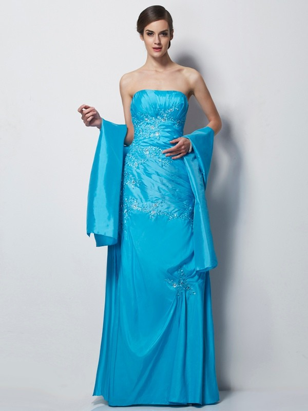 A-Line Sweetheart Sleeveless Applique Long Taffeta Dresses