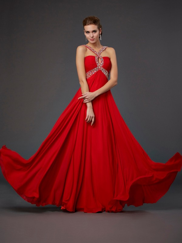 Sheath Halter Sleeveless Beading Sequin Long Chiffon Dresses