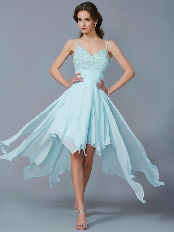A-Line Spaghetti Straps Sleeveless Beading High Low Chiffon Debs Dress