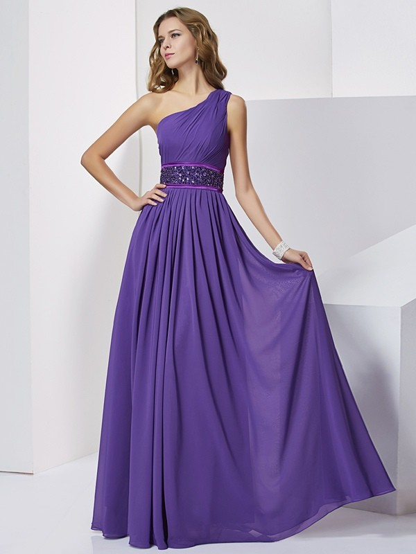 Empire One-Shoulder Sleeveless Beading Long Chiffon Dresses