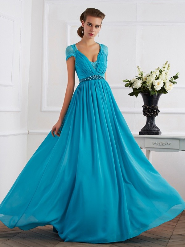 A-Line V-neck Beading Short Sleeves Long Chiffon Dresses