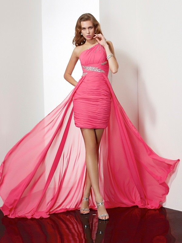 Sheath One-Shoulder Beading Sleeveless Short Chiffon Debs Dress