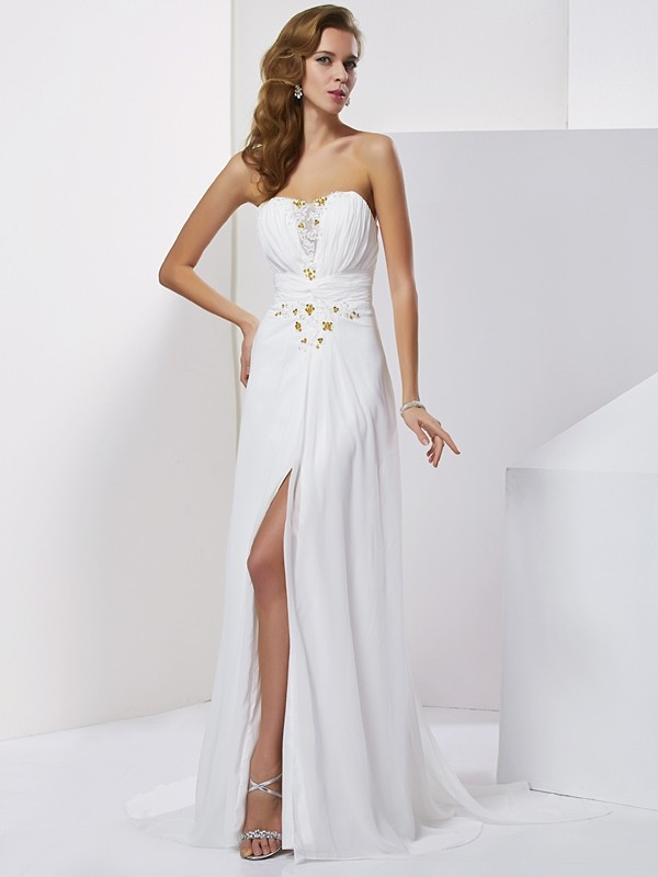 A-Line Sweetheart Applique Sleeveless Beading Long Chiffon Dresses