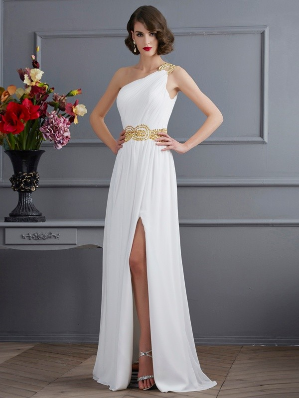 A-Line One-Shoulder Sleeveless Ruched Long Chiffon Dresses