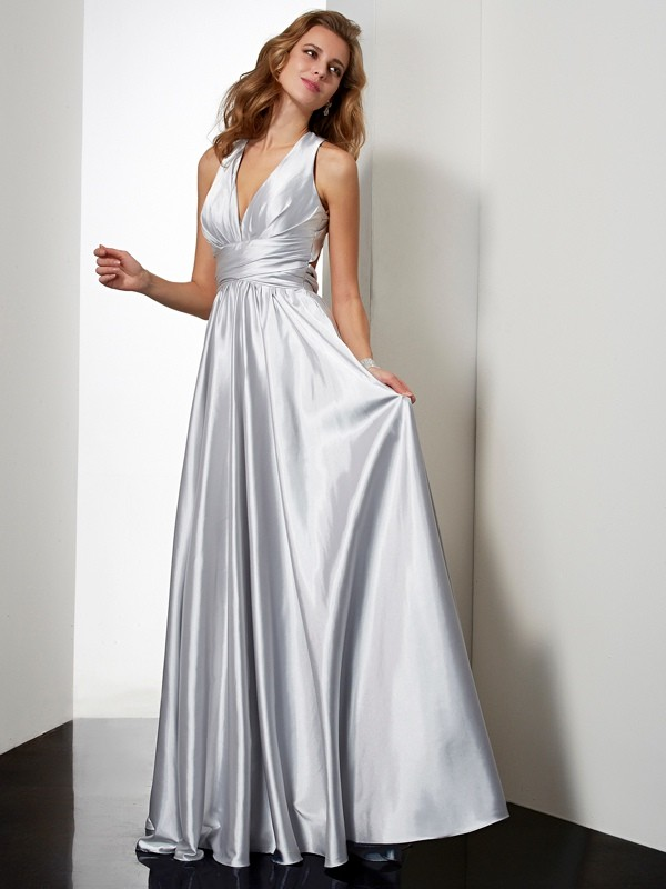 Sheath Halter Sleeveless Pleats Long Elastic Woven Satin Dresses