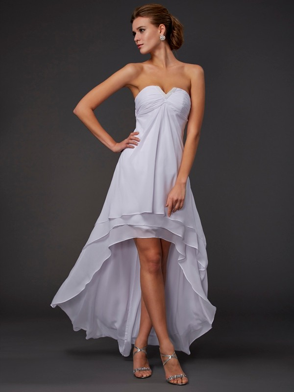 A-Line Sweetheart Sleeveless Ruffles High Low Chiffon Dresses