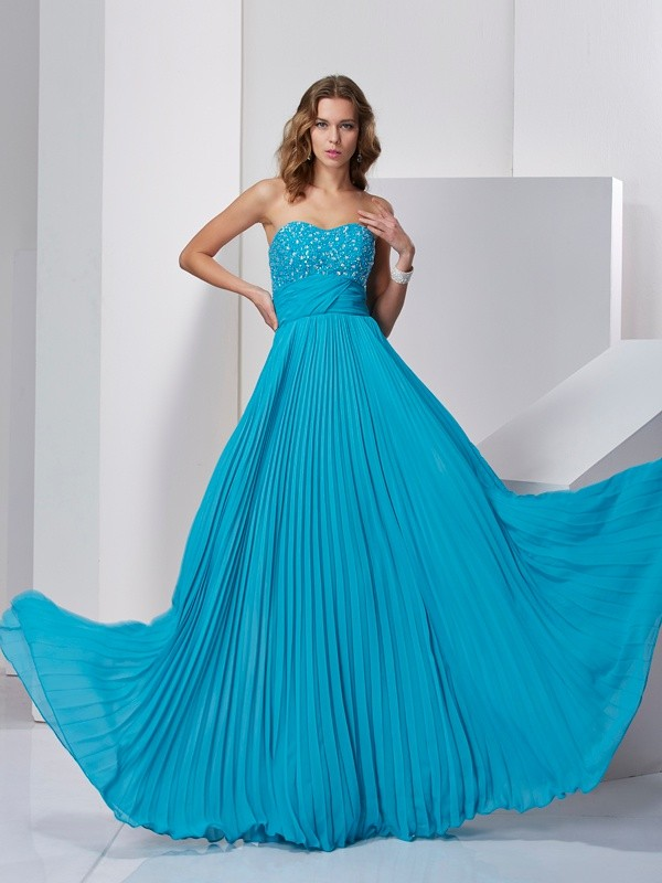 A-Line Sleeveless Sweetheart Long Beading Chiffon Dresses