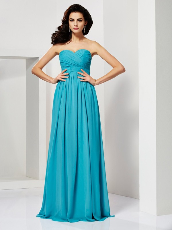A-Line Pleats Sweetheart Sleeveless Long Chiffon Dresses