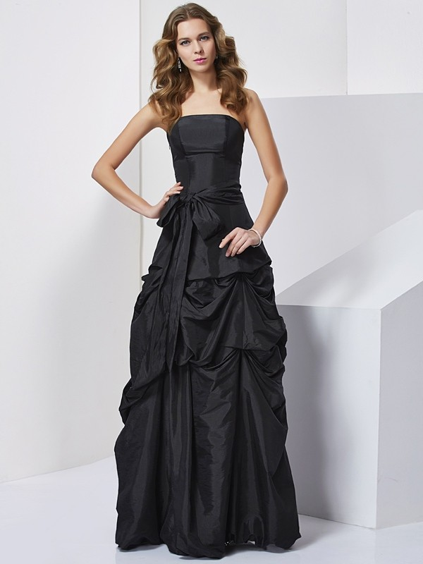 Sheath Strapless Sleeveless Bowknot Long Taffeta Dresses