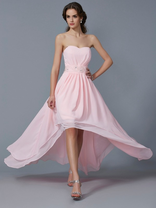 A-Line Sweetheart Sleeveless Beading High Low Chiffon Debs Dress