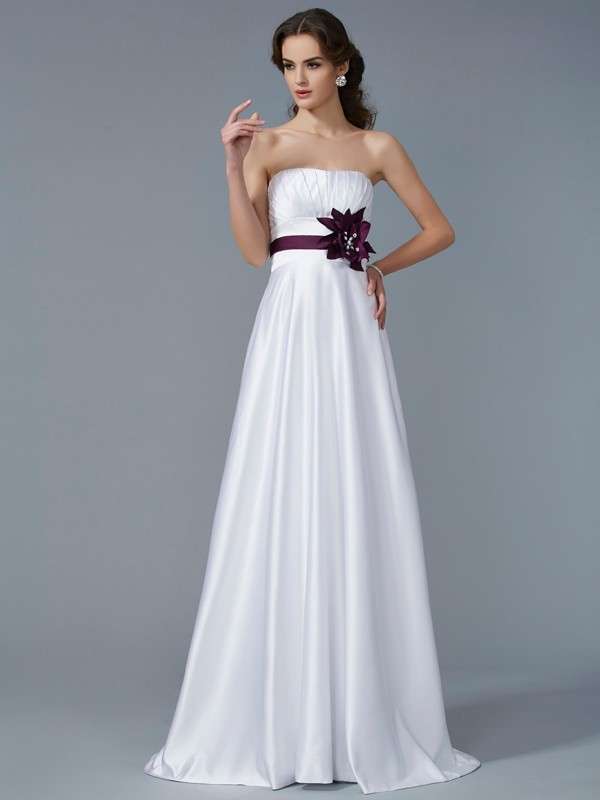 A-Line Strapless Sleeveless Hand-Made Flower Long Satin Dresses