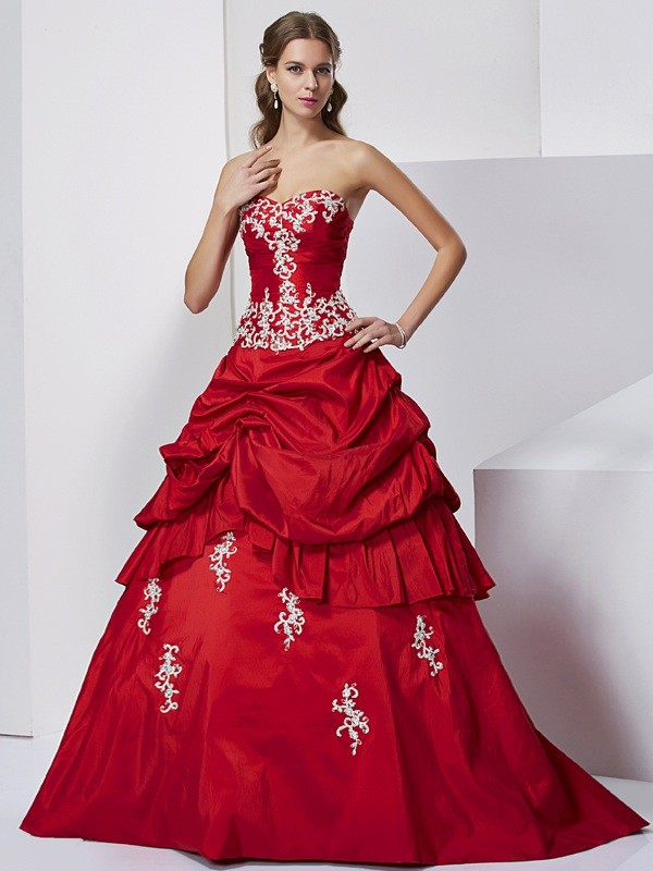 Ball Gown Sweetheart Sleeveless Beading Applique Long Taffeta Debs Dress
