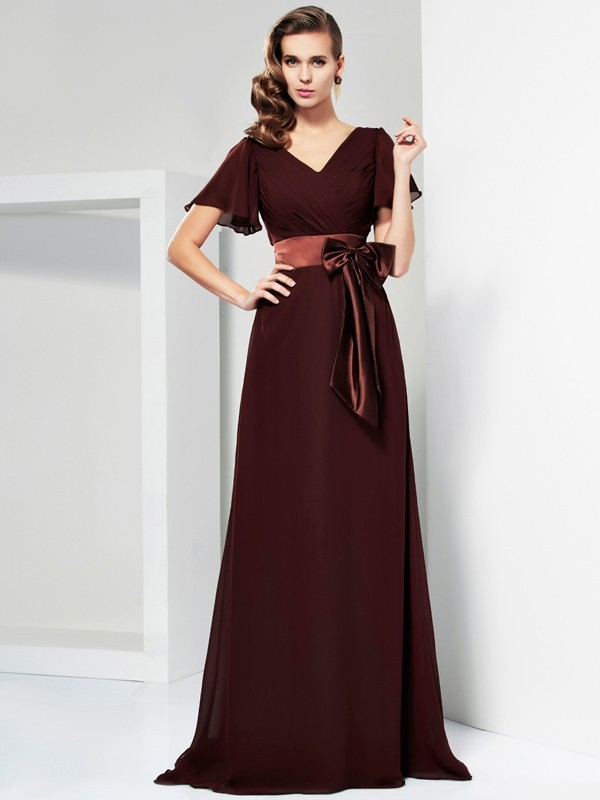 A-Line V-neck Short Sleeves Sash/Ribbon/Belt Long Chiffon Dresses