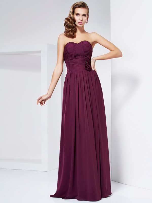 Sheath Sweetheart Sleeveless Hand-Made Flower Long Chiffon Dresses
