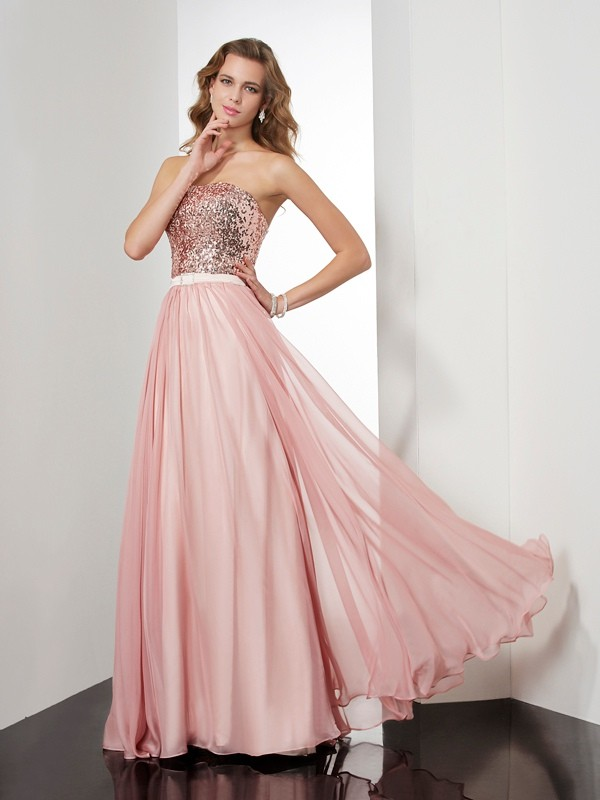 A-Line Strapless Sleeveless Paillette Long Chiffon Dresses
