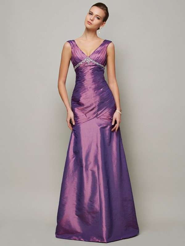 Sheath V-neck Sleeveless Beading Long Taffeta Dresses