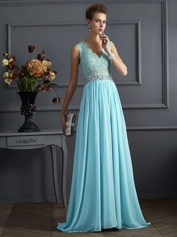 A-Line Straps Sleeveless Beading Lace Long Chiffon Dresses