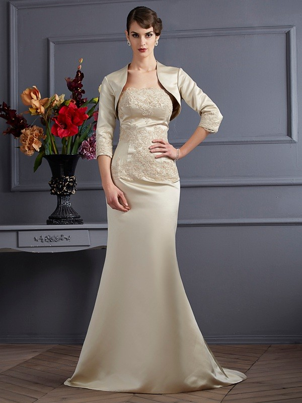Mermaid Strapless Sleeveless Applique Long Satin Dresses