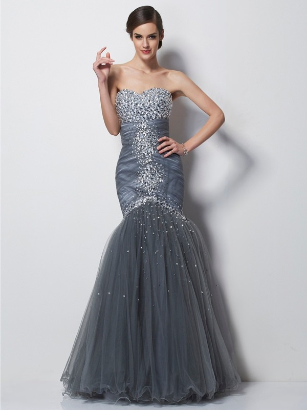 Mermaid Sweetheart Sleeveless Beading Long Net Dresses