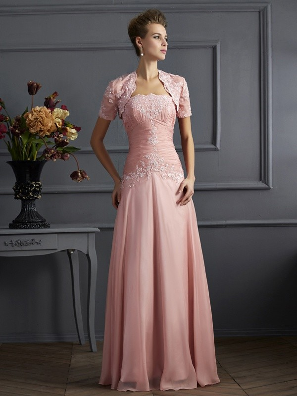 A-Line Sweetheart Sleeveless Applique Long Chiffon Dresses