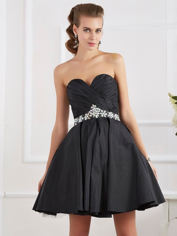 A-Line Sweetheart Sleeveless Beading Short Taffeta Debs Dress