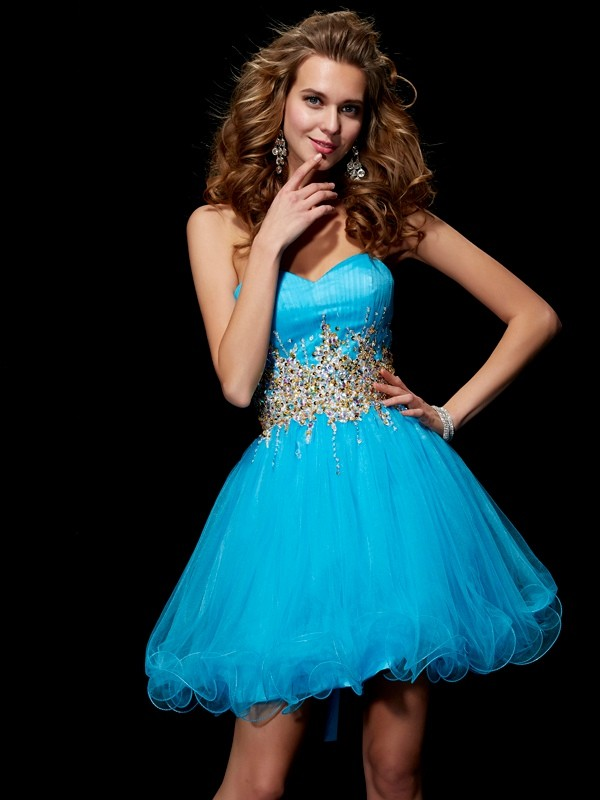A-Line Sweetheart Sleeveless Beading Short Net Debs Dress