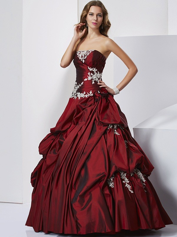 Ball Gown Sweetheart Sleeveless Beading Long Taffeta Debs Dress