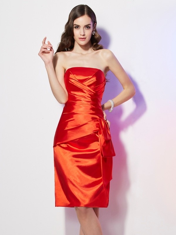 Sheath Strapless Sleeveless Pleats Short Elastic Woven Satin Dresses